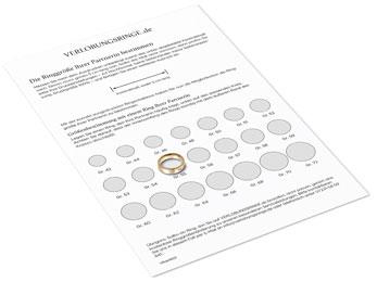 Ringschablone, auch Ringgrößenschablone: richtige Ringgrößenmessung, Größe messen und ermitteln