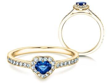 Verlobungsring Heart Saphir Gelbgold