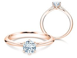 Solitärring Heaven 6 in 14K Roségold mit Diamant 0,50ct