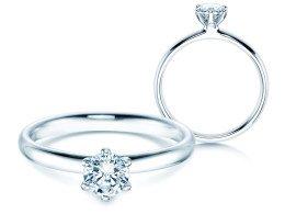 Verlobungsring Classic in 14K Weißgold mit Diamant 0,50ct