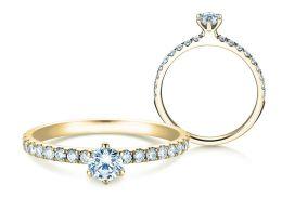 Verlobungsring Classic Pavé in 14K Gelbgold mit Diamanten 0,50ct