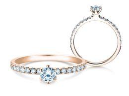 Verlobungsring Classic Pavé in 14K Roségold mit Diamanten 0,50ct