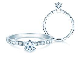 Verlobungsring Classic Pavé in Platin mit Diamanten 0,60ct
