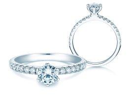 Verlobungsring Classic Pavé in Platin mit Diamanten 0,85ct