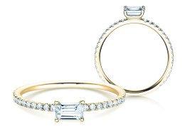 Verlobungsring Emerald-Cut in 14K Gelbgold mit Diamant 0,46ct