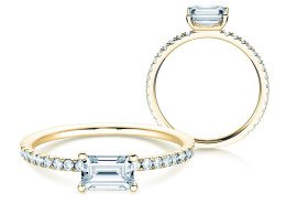 Verlobungsring Emerald-Cut in 14K Gelbgold mit Diamant 0,70ct