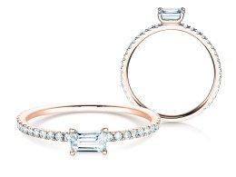 Verlobungsring Emerald-Cut in 14K Roségold mit Diamant 0,46ct