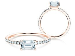Verlobungsring Emerald-Cut in 14K Roségold mit Diamant 0,70ct