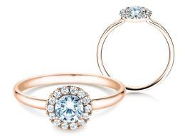 Verlobungsring Flower in 14K Roségold mit Diamant 0,59ct