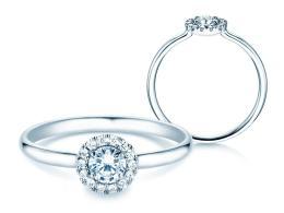 Verlobungsring Flower in Platin mit Diamant 0,33ct