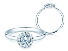 Verlobungsring Flower in Platin mit Diamant 0,49ct