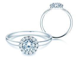 Verlobungsring Flower in Platin mit Diamant 0,59ct