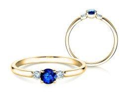 Verlobungsring Glory Petite Saphir in 14K Gelbgold mit Diamanten 0,07ct