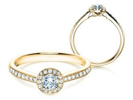 Verlobungsring Halo Petite in 18K Gelbgold in Diamant 0,50ct