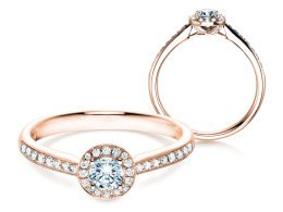Verlobungsring Halo Petite in 18K Roségold in Diamant 0,50ct