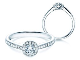 Verlobungsring Halo Petite in 18K Weissgold in Diamant 0,50ct