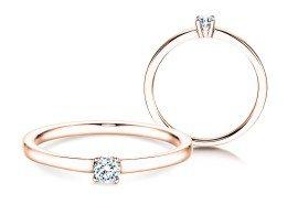 Verlobungsring Modern Petite in 14K Roségold mit Diamant 0,14ct
