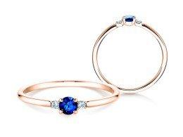 Verlobungsring Glory Petite Saphir in 14K Roségold mit Diamanten 0,04ct