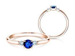 Verlobungsring Glory Petite Saphir in 14K Roségold mit Diamanten 0,07ct