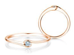 Verlobungsring Touch in 14k Roségold mit Diamant 0,04ct