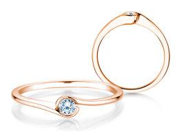 Verlobungsring Touch in 14k Roségold mit Diamant 0,08ct