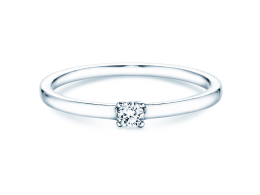 Verlobungsring Modern Petite in 14K Weißgold mit Diamant 0,11ct