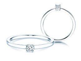 Verlobungsring Modern Petite in 14K Weißgold mit Diamant 0,14ct