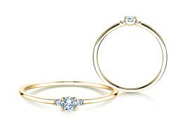Verlobungsring Glory Petite in 18K Gelbgold mit Diamanten 0,10ct