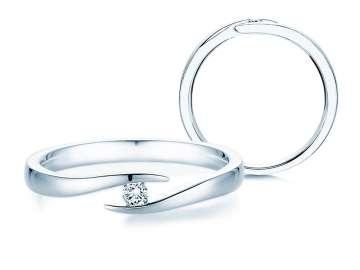 Verlobungsring Twist in Silber mit Diamant 0,05ct
