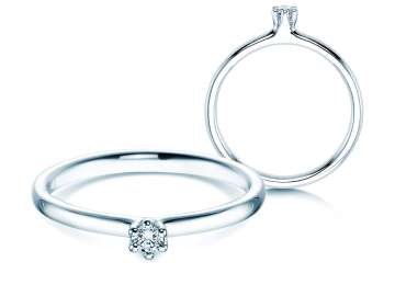 Verlobungsring Classic in Silber mit Diamant 0,05ct