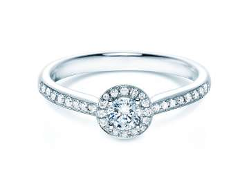 Verlobungsring Halo Petite in 18K Weissgold in Diamant 0,48ct