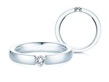 Verlobungsring Infinity in Silber und Diamant 0,15ct