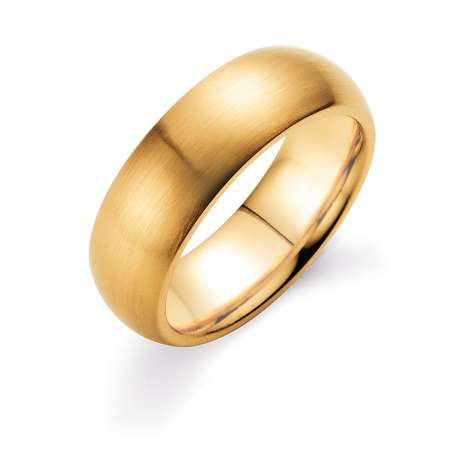 Herrenring Classic 7mm<br />18K Gelbgold matt