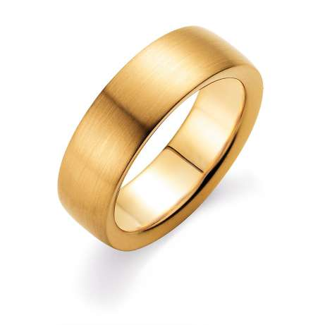 Herrenring Modern 7mm<br />14K Gelbgold matt