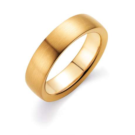 Herrenring Modern 6mm<br />14K Gelbgold matt