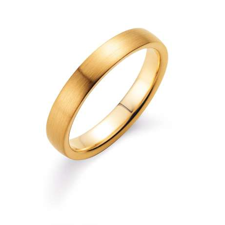 Herrenring Modern 4mm in 18K Gelbgold matt