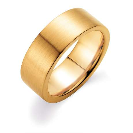 Herrenring Infinity 8mm<br />14K Gelbgold matt