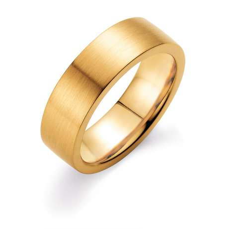 Herrenring Infinity 7mm<br />18K Gelbgold matt