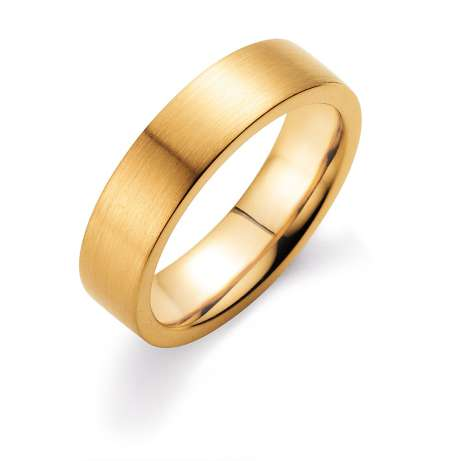 Herrenring Infinity 6mm<br />18K Gelbgold matt