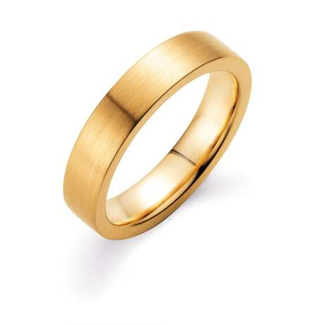 Herrenring Infinity 5mm<br />18K Gelbgold matt