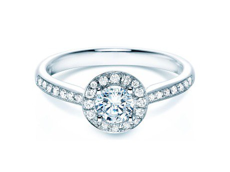 Verlobungsring Halo Classic<br />18K Weissgold<br />Diamant 0,78ct