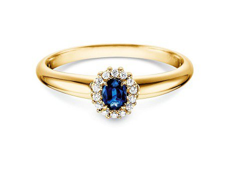 Saphir-Verlobungsring Jolie<br />18K Gelbgold<br />Diamanten 0,06ct