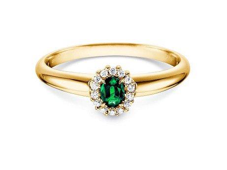Smaragdring Jolie in 18K Gelbgold mit Diamanten 0,06ct