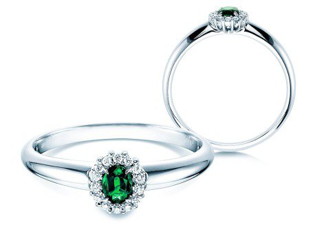 Smaragdring Jolie in Platin mit Diamanten 0,06ct