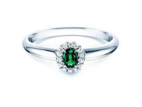 Smaragdring Jolie<br />18K Weißgold<br />Diamanten 0,06ct