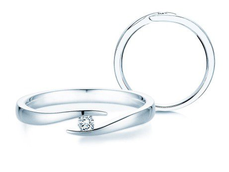 Verlobungsring Twist in Platin mit Diamant 0,05ct