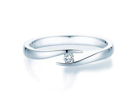 Verlobungsring Twist in 18K Weißgold mit Diamant 0,05ct