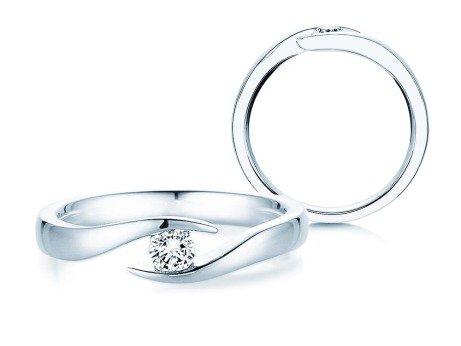 Verlobungsring Twist<br />14K Weißgold<br />Diamant 0,15ct