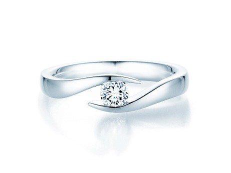 Verlobungsring Twist in 18K Weißgold mit Diamant 0,25ct