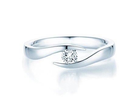 Verlobungsring Twist in Silber mit Diamant 0,20ct